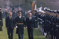 Jimmy Carter and Shah of Iran inspect the troop during welcoming ceremony for the Shah., 11/15/1977