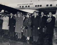 Vice President Nixon greeting the Shah of Iran and Empress Soraya, 12/13/1954
