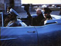 The Shah of Iran greets President Eisenhower at Tehran Mehrabad Airport, 12/14/1959
