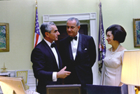 L-R: Mohammed Reza Pahlavi, President Lyndon B.Johnson, Lady Bird Johnson, 08/22/1967