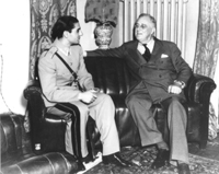 Photograph of President Roosevelt with the Shah of Iran during the Tehran Conference - November 30, 1943